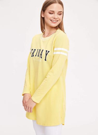 DeFacto Baskılı Uzun Kollu Sweat Tunik Sarı